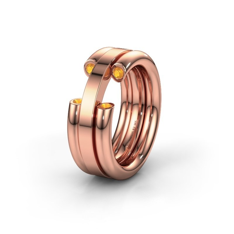 Wedding ring WH6018L 585 rose gold citrin ±8x3 mm