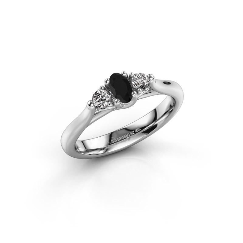 Bague de fiançailles Jente OVL 585 or blanc diamant noir 0.436 crt
