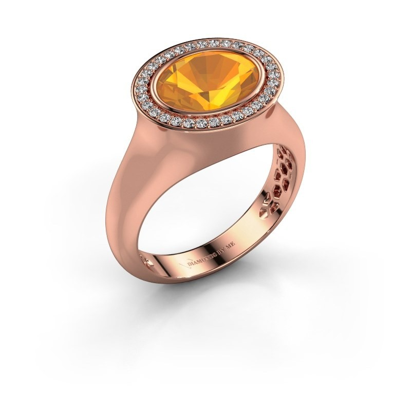 Ring Phebe 375 rosé goud citrien 10x8 mm
