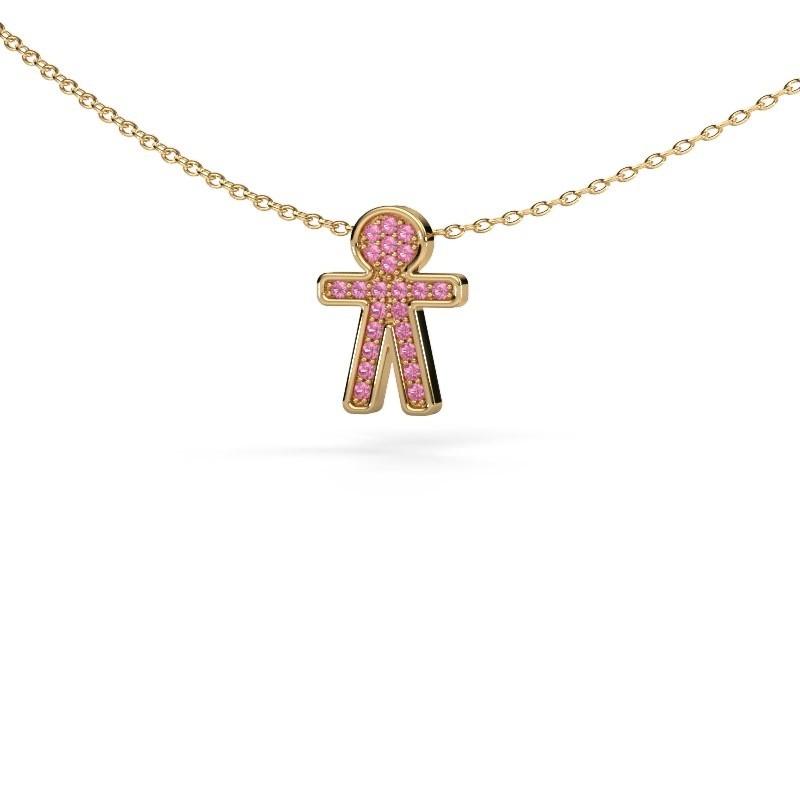 Hanger Boy 375 goud roze saffier 1 mm
