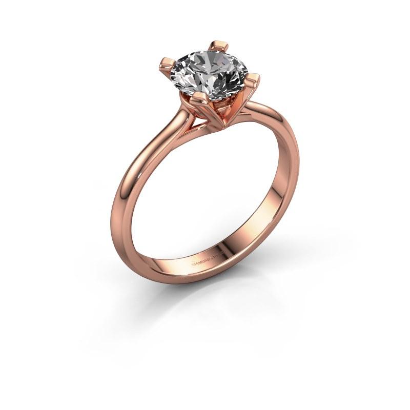Verlovingsring Isa 1 585 rosé goud diamant 1.00 crt