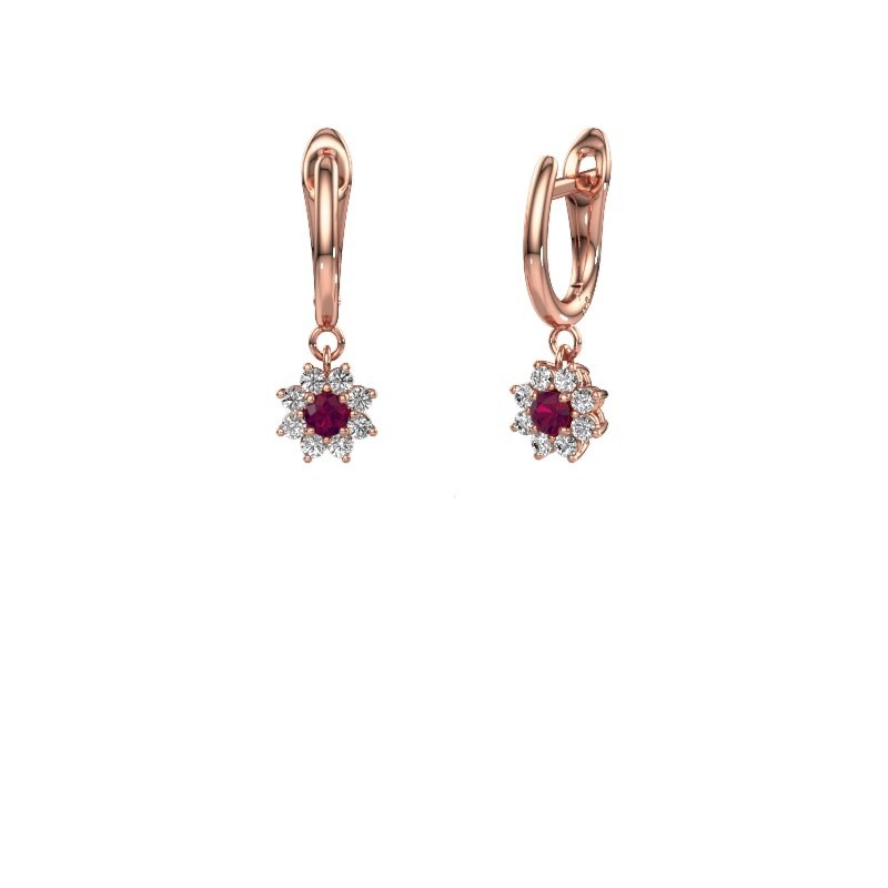 Drop earrings Camille 1 375 rose gold rhodolite 3 mm