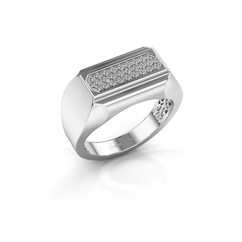 Heren ring Gerard 585 witgoud zirkonia 1.4 mm