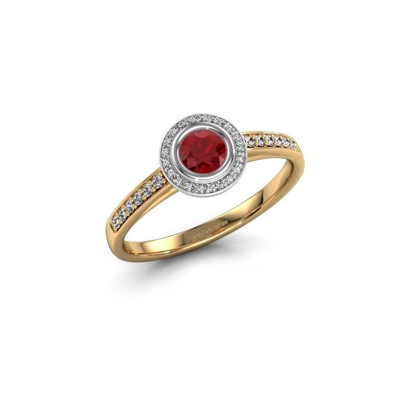 Engagement ring Noud 2 RND 585 gold ruby 4 mm