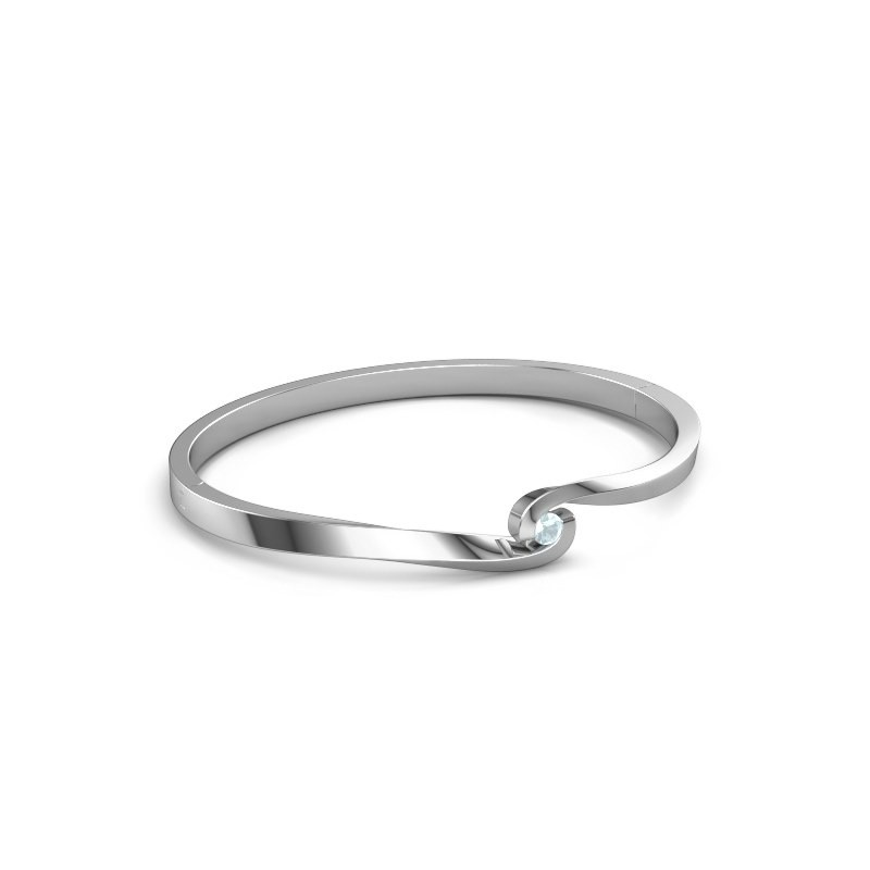 Bracelet jonc Sheryl 585 or blanc aigue-marine 3.7 mm