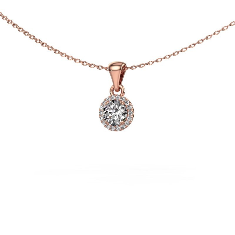 Hanger Seline rnd 375 rosé goud diamant 0.48 crt