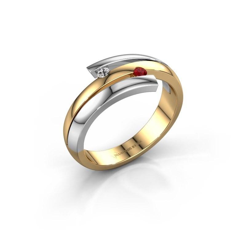 Ring Dena 585 goud robijn 2 mm