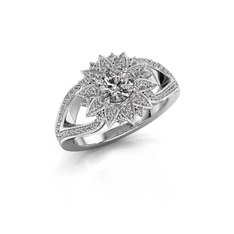 Aanzoeksring Chasidy 2 925 zilver diamant 0.50 crt