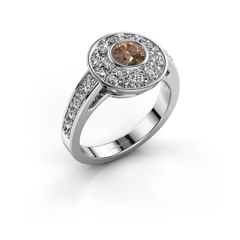 Verlovingsring Raven 2 950 platina bruine diamant 1.35 crt