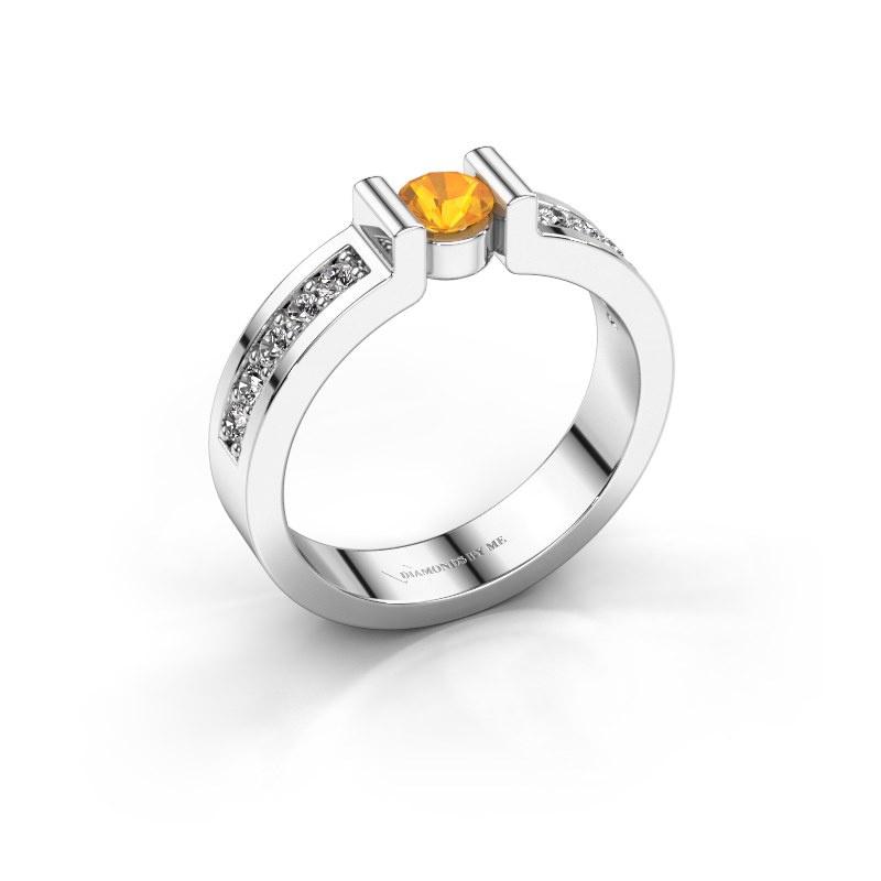 Verlovingsring Isabel 2 925 zilver citrien 4 mm