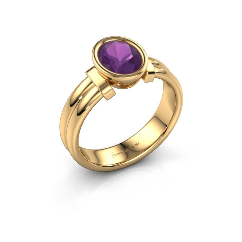 Ring Gerda 585 gold amethyst 8x6 mm