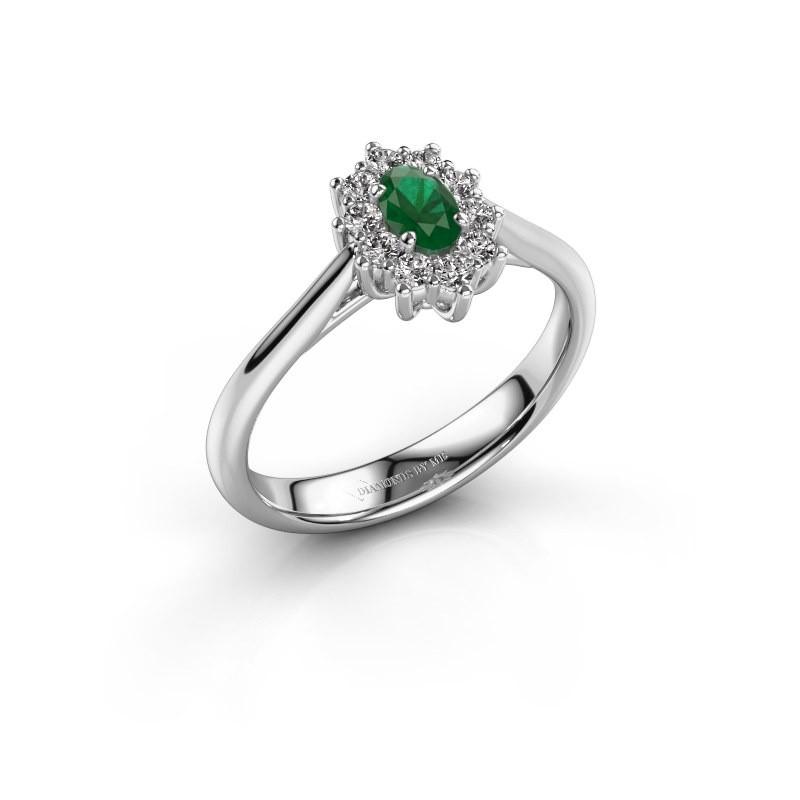 Verlovingsring Leesa 1 950 platina smaragd 5x4 mm
