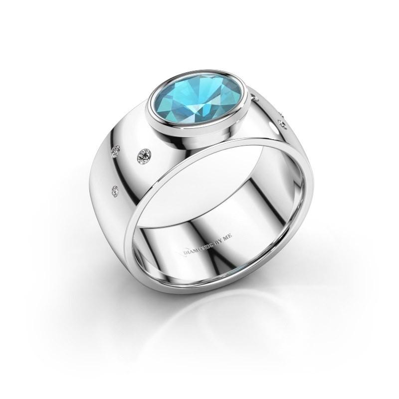 Ring Wilma 2 925 zilver blauw topaas 8x6 mm