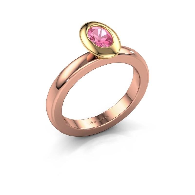 Stapelring Trudy Oval 585 rosé goud roze saffier 6x4 mm