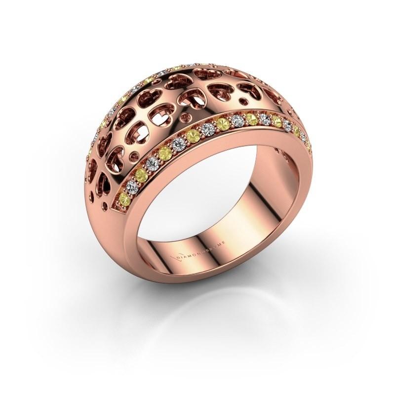 Ring Tirza 375 rosé goud gele saffier 1.3 mm