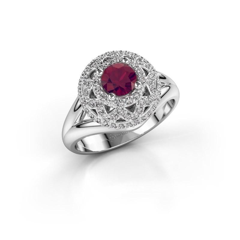 Ring Leonora 925 silver rhodolite 5 mm