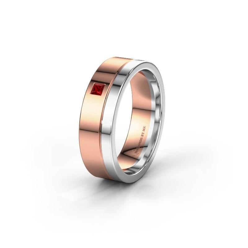 Trouwring WH0301L16APSQ 585 rosé goud robijn ±6x1.7 mm