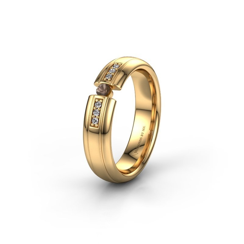 Wedding ring WH2128L26C 585 gold smokey quartz ±5x2 mm