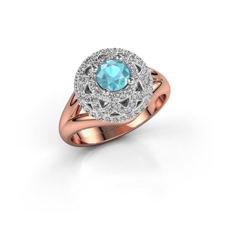 Ring Leonora 585 rosé goud blauw topaas 5 mm