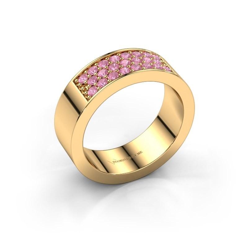 Ring Lindsey 5 375 goud roze saffier 1.7 mm
