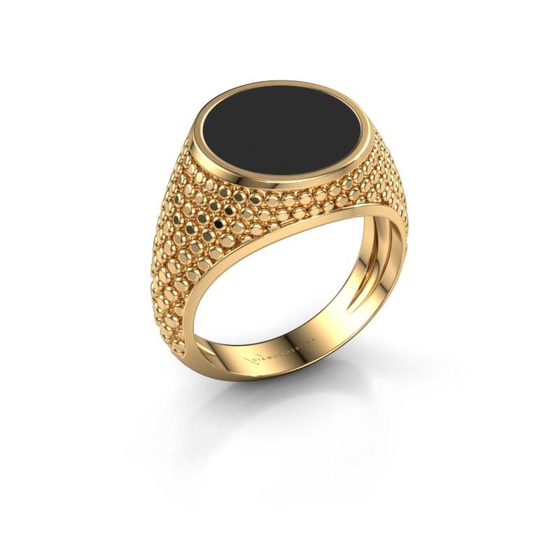 Zegelring Zachary 2 585 goud zwarte emaille 12 mm