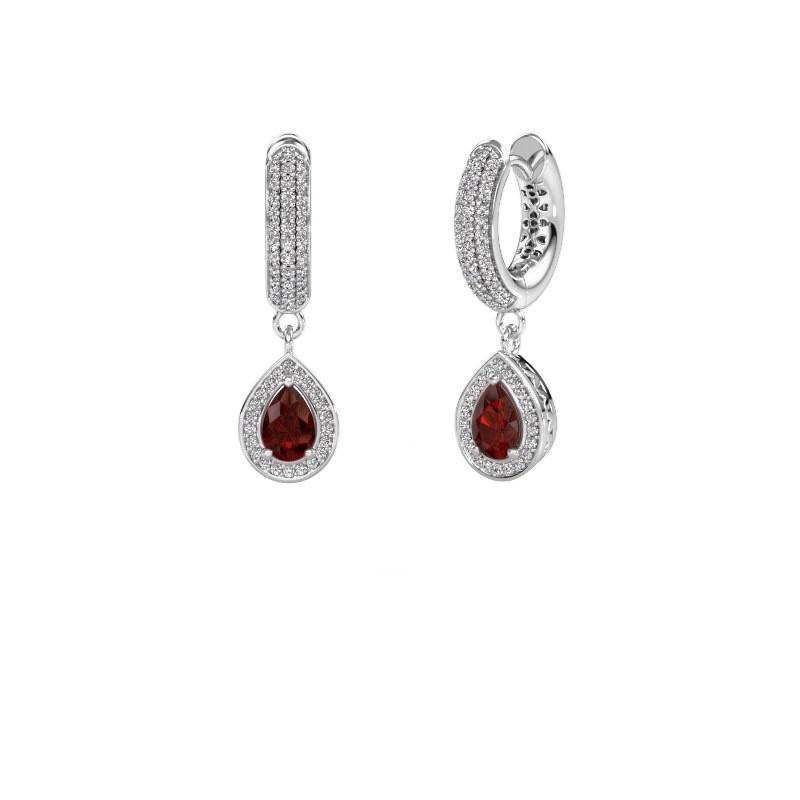 Drop earrings Barbar 2 950 platinum garnet 6x4 mm