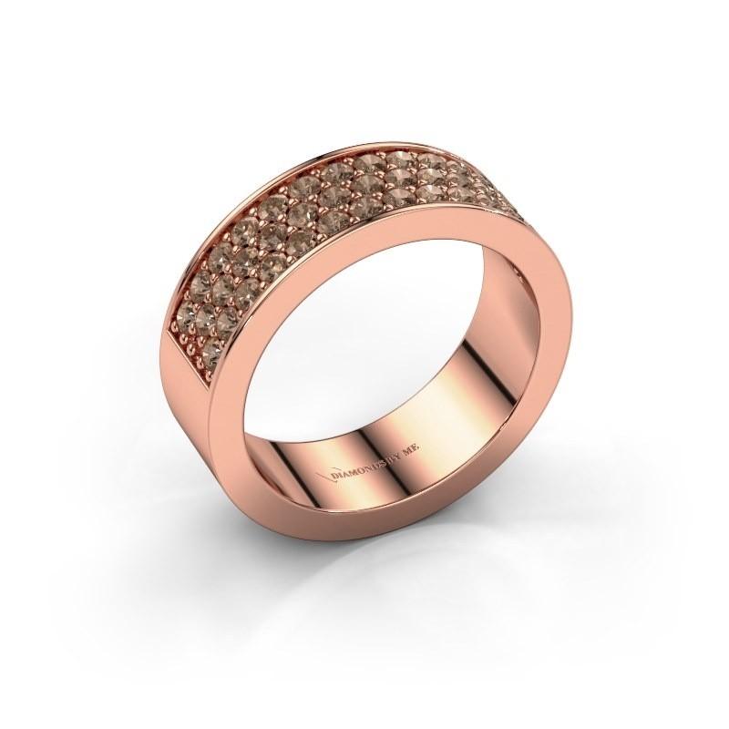 Ring Lindsey 6 375 rosé goud bruine diamant 0.82 crt
