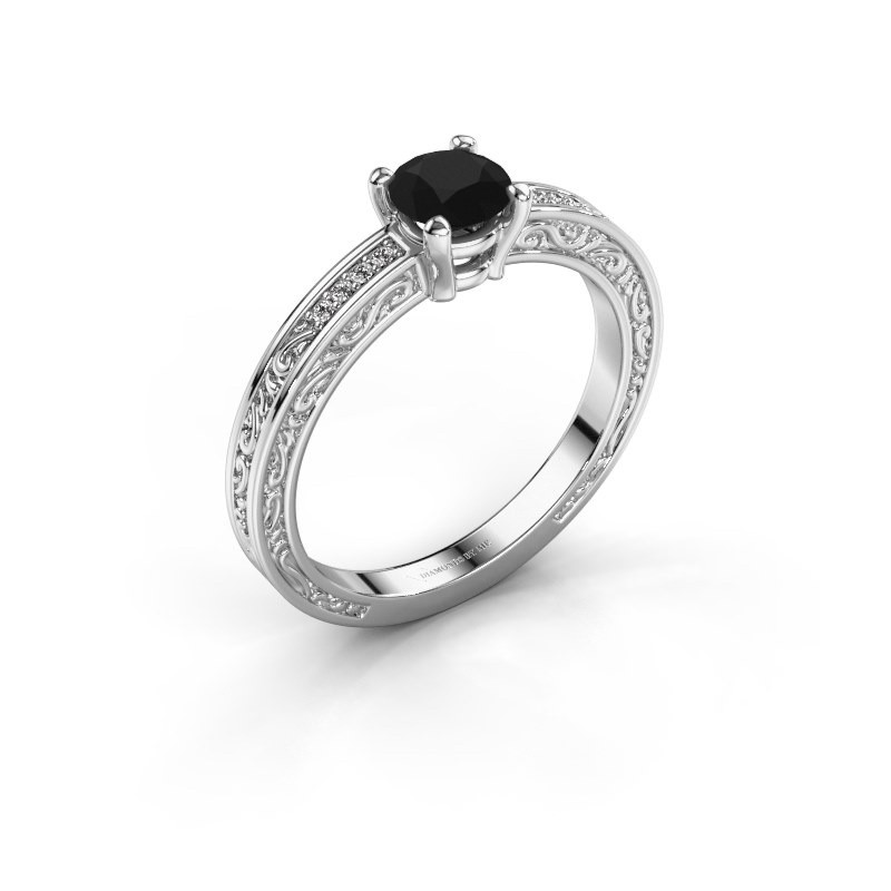 Verlovingsring Claudette 2 585 witgoud zwarte diamant 0.64 crt