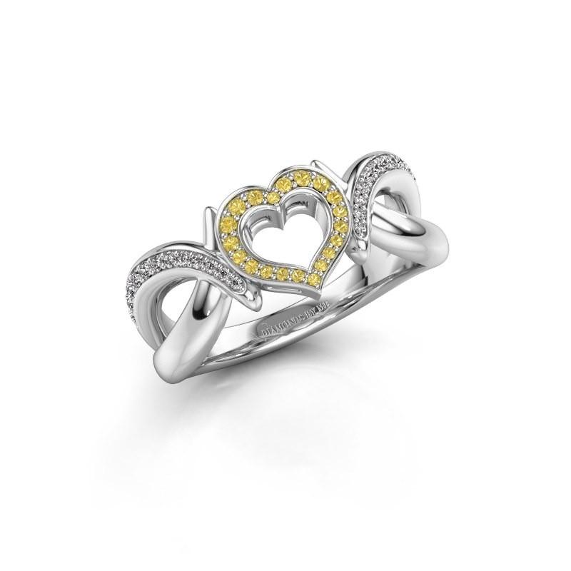 Ring Earlie 2 950 platina gele saffier 1.1 mm