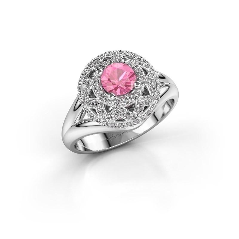 Ring Leonora 585 witgoud roze saffier 5 mm