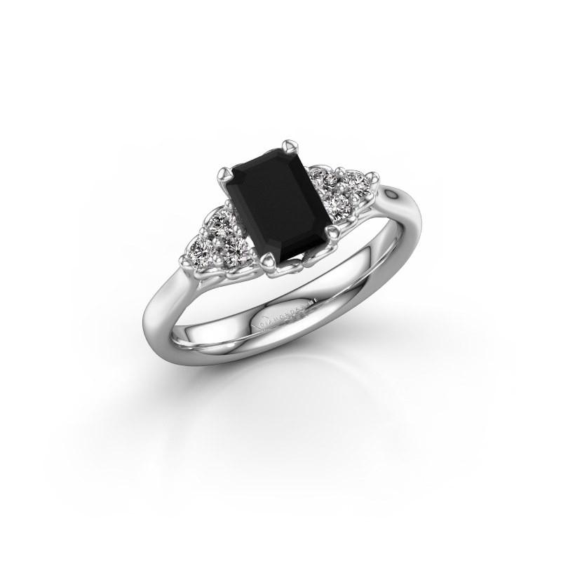 Aanzoeksring Myrna EME 585 witgoud zwarte diamant 1.530 crt