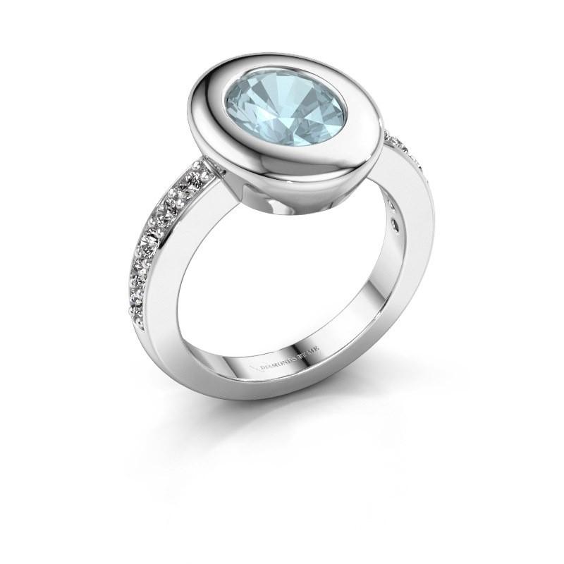 Ring Selene 2 585 witgoud aquamarijn 9x7 mm