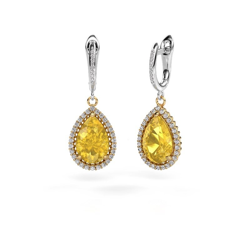 Drop earrings Hana 2 585 gold yellow sapphire 12x8 mm