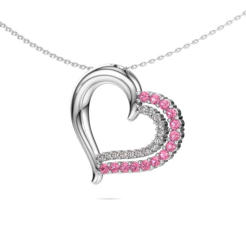 Necklace Kandace 925 silver pink sapphire 1.9 mm