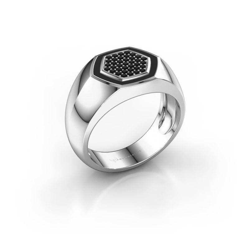 Heren ring Kris 925 zilver zwarte diamant 0.296 crt