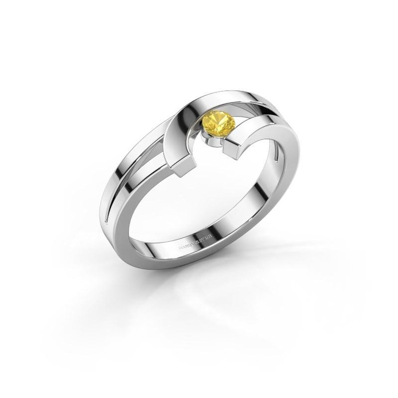 Ring Yentl 925 zilver gele saffier 3 mm