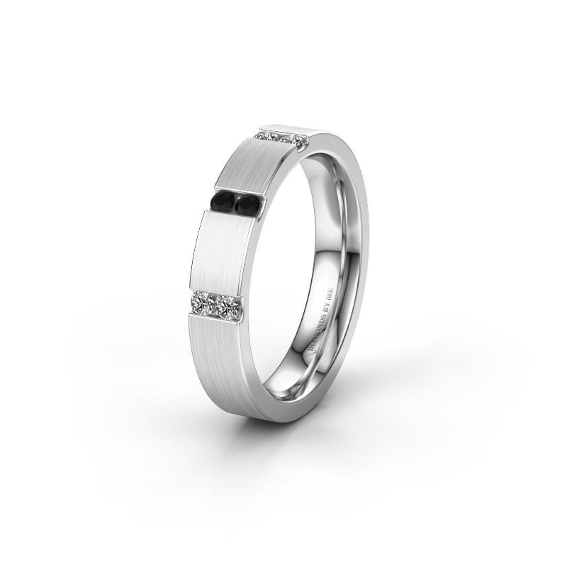 Wedding ring WH2133L14BM 585 white gold black diamond ±4x2.2 mm