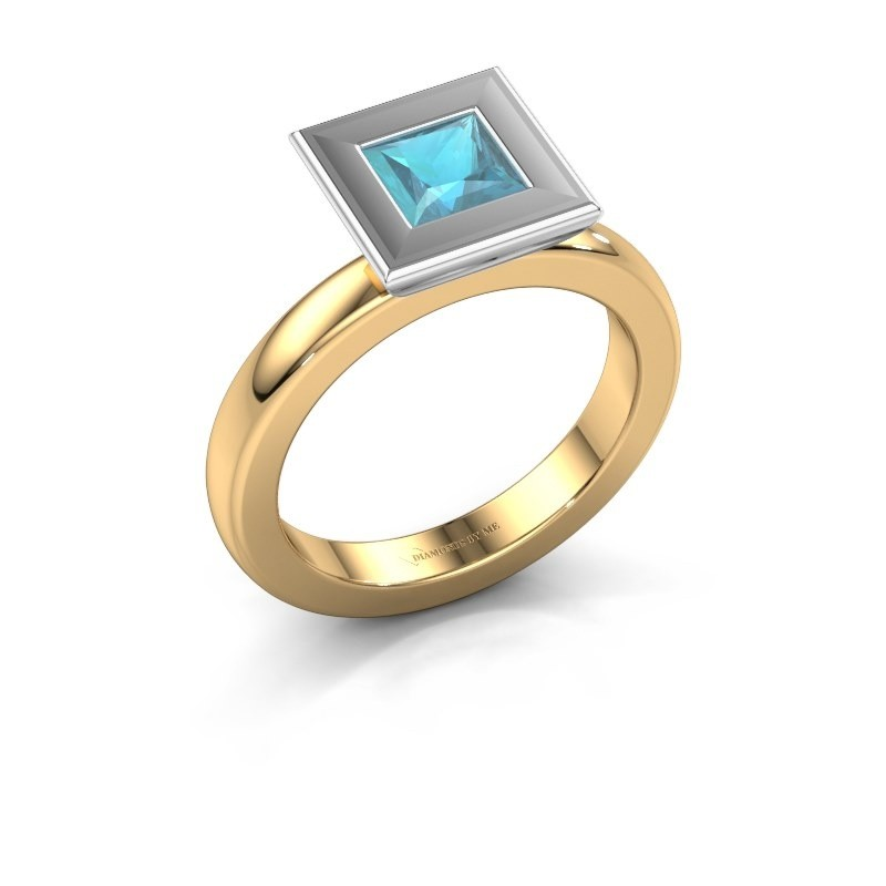 Stapelring Eloise Square 585 goud blauw topaas 5 mm