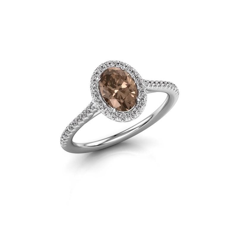 Engagement ring Seline 2 585 white gold brown diamond 1.081 crt
