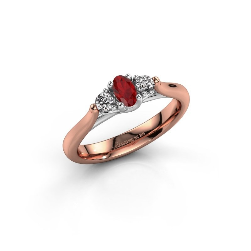 Verlovingsring Jente OVL 585 rosé goud robijn 5x3 mm