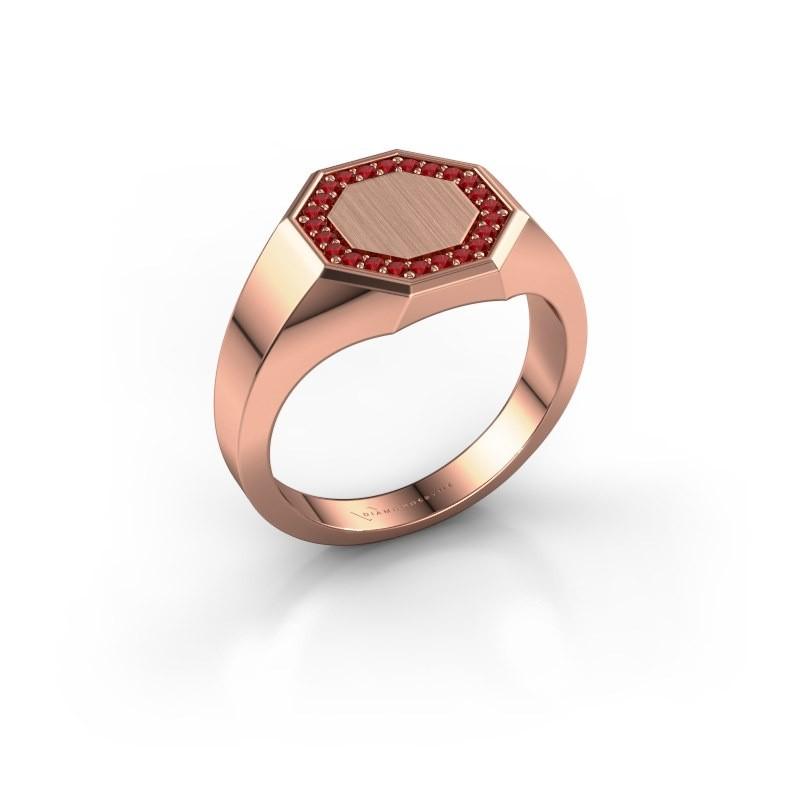 Heren ring Floris Octa 2 375 rosé goud robijn 1.2 mm