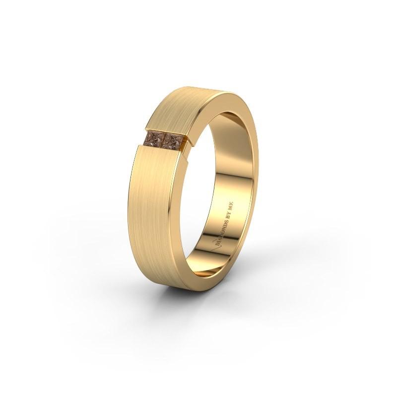 Trouwring WH2136L15E 375 goud bruine diamant ±5x2.6 mm
