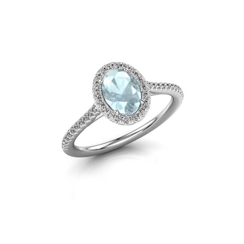 Engagement ring Seline 2 585 white gold aquamarine 7x5 mm