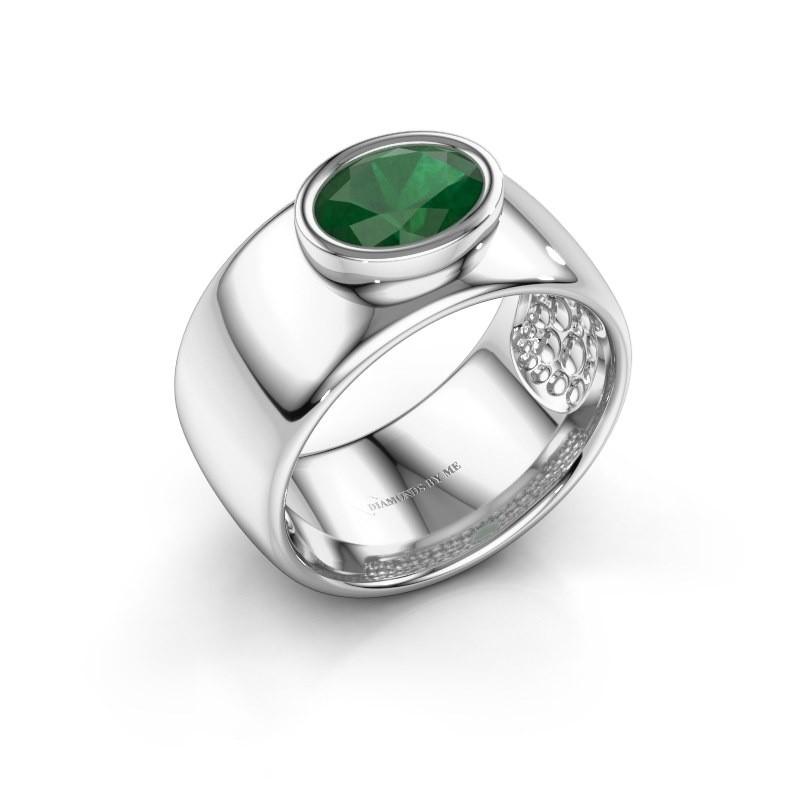 Ring Anouschka 925 zilver smaragd 8x6 mm
