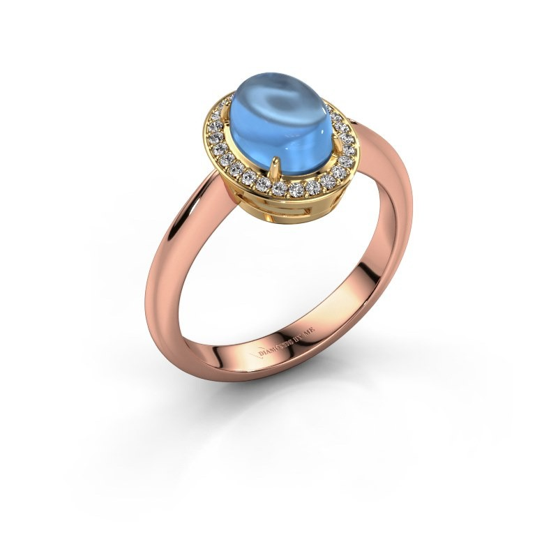 Bague Kristian 585 or rose topaze bleue 8x6 mm