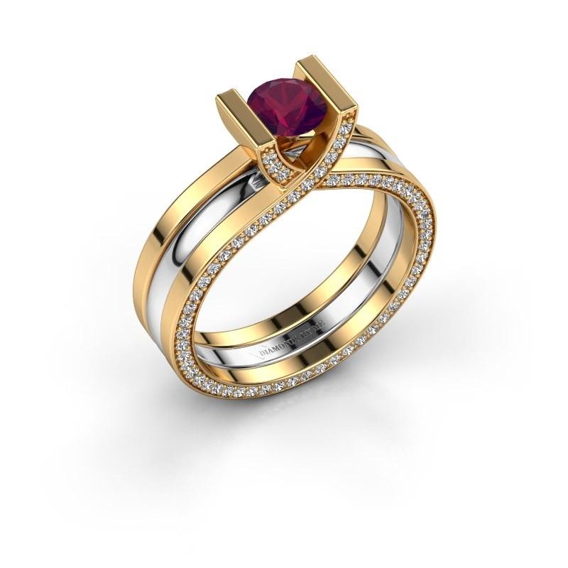 Verlovingsring Kenisha 585 goud rhodoliet 5 mm