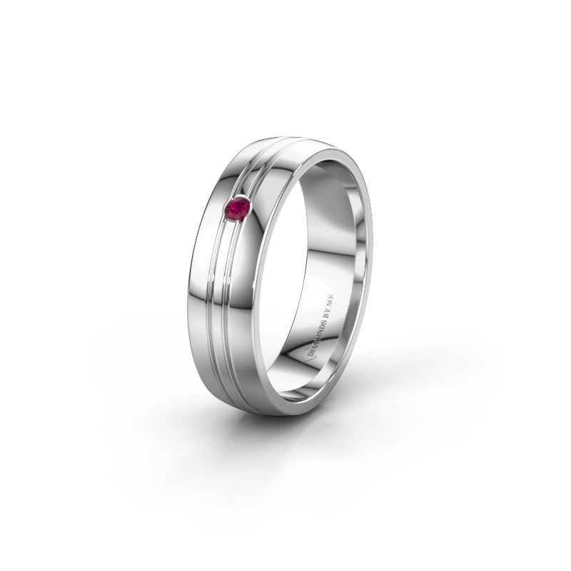 Wedding ring WH0420L25X 585 white gold rhodolite ±5x1.5 mm