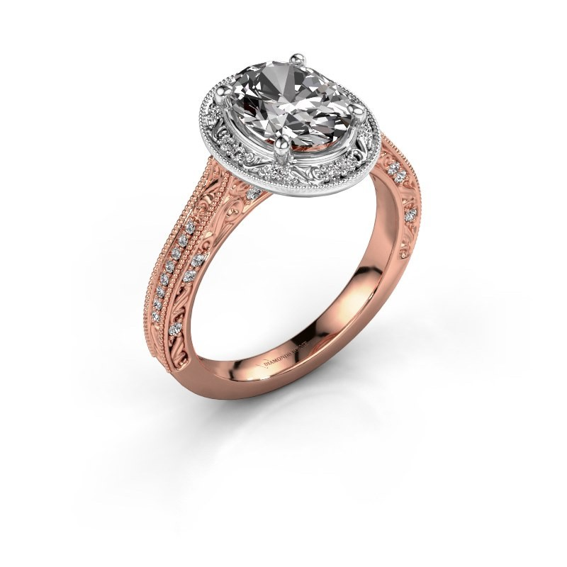 Engagement ring Alice OVL 585 rose gold diamond 1.905 crt