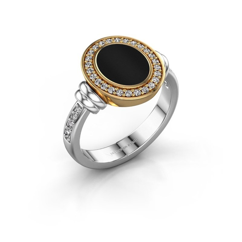 Zegelring Frido F 585 witgoud onyx 10x8 mm