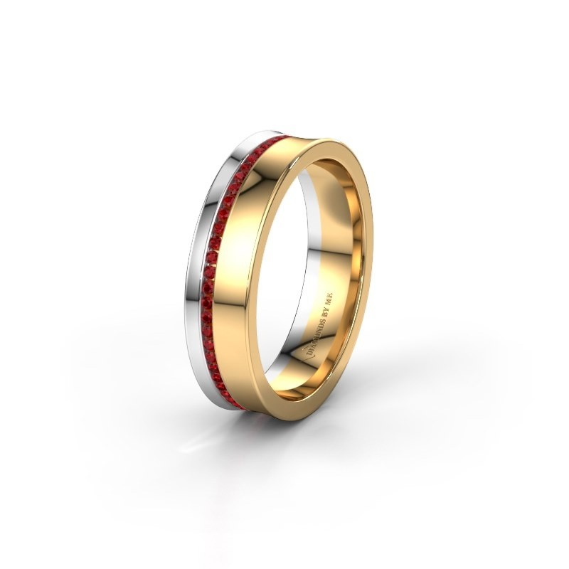 Wedding ring WH6090L55A 585 gold ruby ±5x1.7 mm
